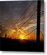 Sunset Along The Fence Yellow Red Orange Fine Art Photography Print  Metal Print