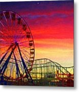 Sunset And A Sliver Moon Metal Print