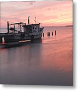 Sunset And Boat Metal Print