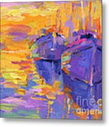 Sunset And Boats Metal Print