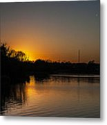 Sunset And Contrails Metal Print