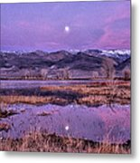 Sunset And Moonrise At Farmers Pond Metal Print by Cat Connor