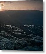 Sunset And Rice Terrace Metal Print