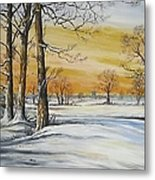 Sunset And Snow Sold Metal Print