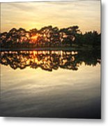 Sunset And Trees On Water Metal Print
