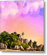 Sunset At Anse Source Argent Seychelles Metal Print