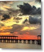 Sunset At Clam Creek Fishing Pier Metal Print