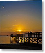 Sunset At Crystal Beach Pier Metal Print