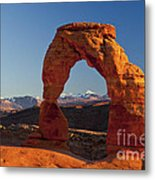 Sunset At Delicate Arch Metal Print