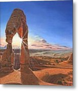 Sunset At Delicate Arch Utah Metal Print