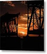 Sunset At Flagler Bridge 2 Metal Print