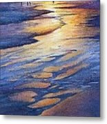 Sunset At Galveston Beach Metal Print