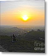 Sunset At Glastonbury Tor Metal Print