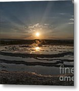 Sunset At Great Fountain Geyser - Yellowstone Metal Print