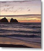 Sunset At Holywell Bay Metal Print