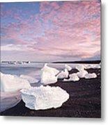 Sunset At Ice Beach Metal Print