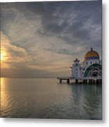 Sunset At Malacca Straits Mosque Metal Print