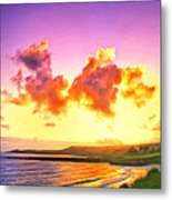 Sunset At Oneloa Beach Maui Metal Print