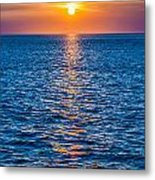 Sunset At Sea With Multiple Color Prizm Metal Print