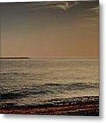 Sunset At The Beach Panorama Metal Print