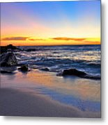 Sunset At The Beach Metal Print by Sally Nevin