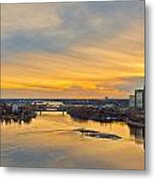 Sunset At The City By The River Metal Print