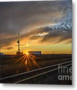 Sunset At The Edge Of Oil Rigs Metal Print