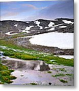 Sunset At The Lake At 3000 M. Hight Metal Print