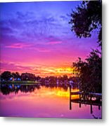Sunset At The Pier Metal Print