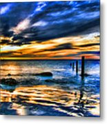 Sunset At Washed Out Pier Metal Print