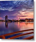 Sunset Balcony Of The West Palm Beach Skyline Metal Print by Debra and Dave Vanderlaan