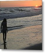 Sunset Beach Silhouette Metal Print