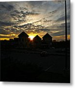 Sunset Behind Building At Smith Mt. Lake Metal Print