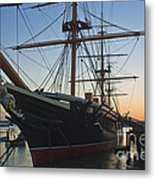 Sunset Behind Hms Warrior Metal Print
