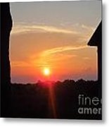 Sunset Between Tree And Barn Metal Print