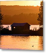 Sunset Boat House Metal Print