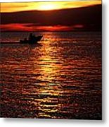Sunset Boaters Metal Print