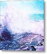 Sunset Cliff Wave Metal Print