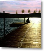 Sunset Dock Metal Print