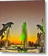 Sunset Dolphins Metal Print