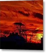 Sunset Down On The Farm Metal Print