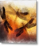 Sunset Dragonflies Metal Print