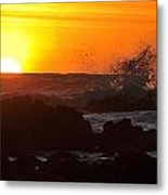 Sunset During Low Tide At Fitzgerald Marine Preserve Metal Print