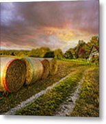 Sunset Farm Metal Print by Debra and Dave Vanderlaan
