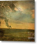 Sunset Farmland Metal Print