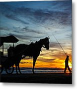 Sunset Fisehrman Metal Print
