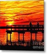 Sunset Fishing At The Pier Metal Print