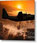 Sunset Flight C-130 Metal Print by Wernher Krutein