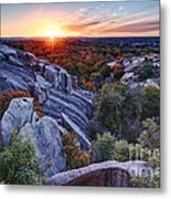Sunset From The Top Of Little Rock At Enchanted Rock State Park - Fredericksburg Texas Hill Country Metal Print