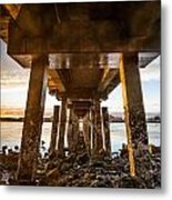 Sunset From Under The Pier Metal Print